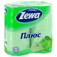 """Туалетная бумага """"Zewa Плюс. Яблоко"""", 4 рулона"""